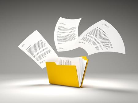 Orange folder with files Stock Photo - 12764447