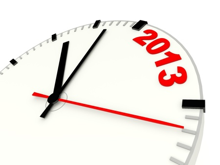 Clock with 2013 New Year sign Stock Photo - 15400424