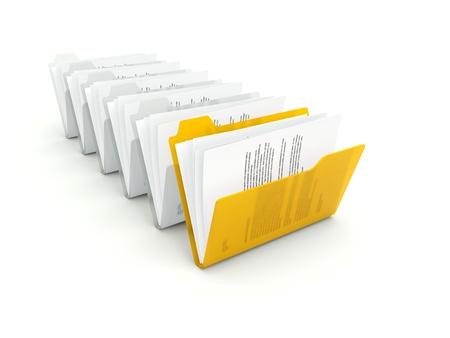 Orange folder with files isolated on white