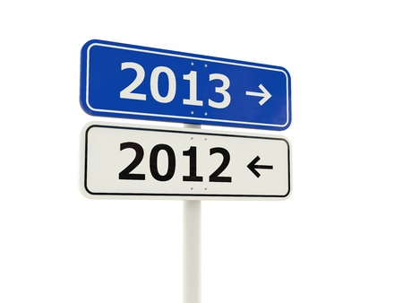 2013-2012 New Year road sign isolated on white photo