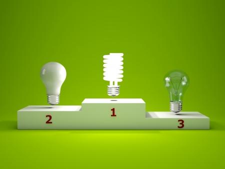 Energieeffiziente Glühbirne auf dem Podium