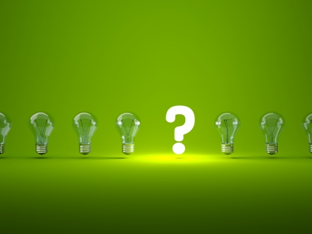 green bulb: Luminous question sign with light bulbs Stock Photo