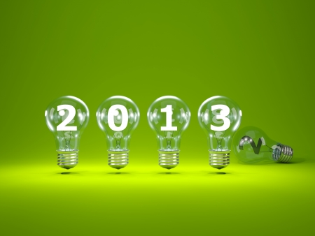 2013 New Year sign inside light bulbs Stock Photo - 16195172