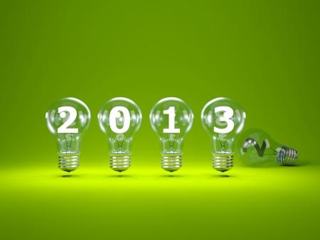 2013 New Year sign inside light bulbs Stock Photo - 16195172