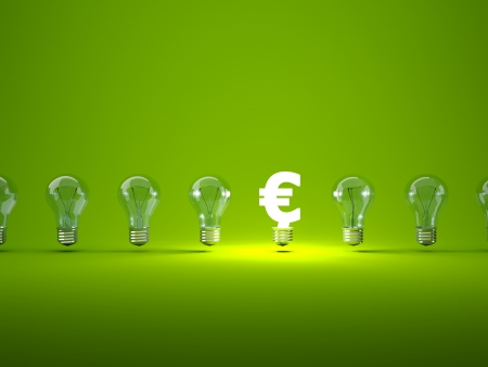 electric green: Luminous euro sign  with light bulbs Stock Photo