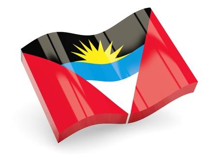 barbuda: 3d flag of Antigua and Barbuda isolated on white Stock Photo