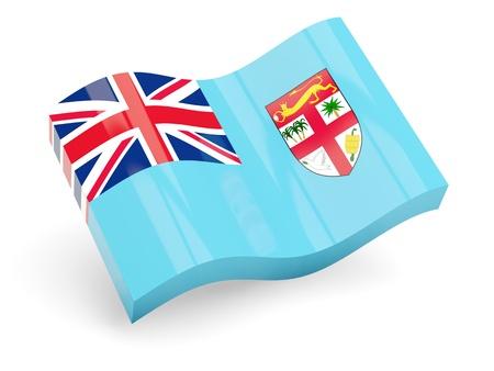 fiji: 3d flag of fiji isolated on white