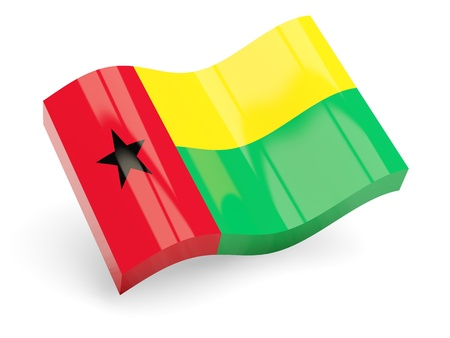bissau: 3d flag of guinea bissau isolated on white Stock Photo