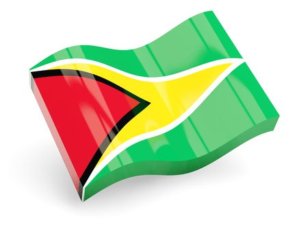 guyana: 3d flag of guyana isolated on white