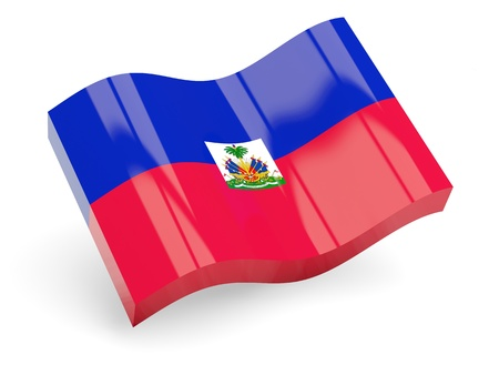 3d flag of haiti isolated on white photo