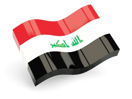 3d flag of iraq isolated on white Stock Photo - 18396504