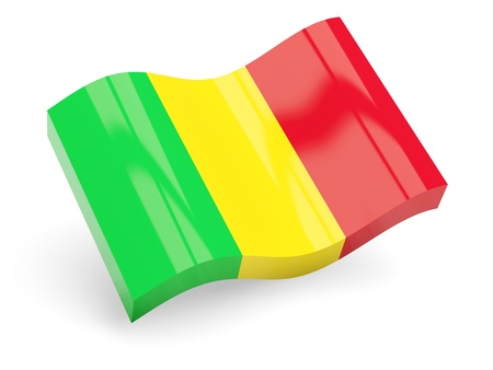 mali: 3d flag of mali isolated on white