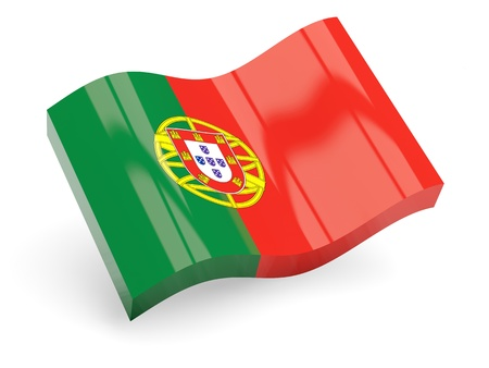 3d bandera de portugal aislado en blanco photo