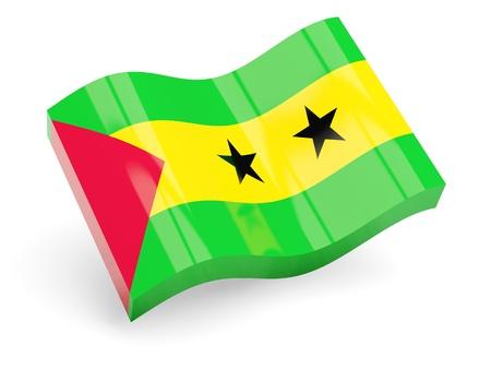 principe: 3d bandera de Santo Tom� y Pr�ncipe aislado en blanco