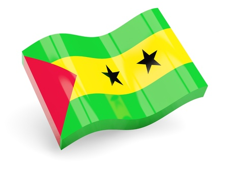 tome: 3d flag of sao tome and principe isolated on white