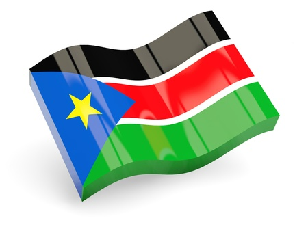 south sudan: 3d flag of south sudan isolated on white