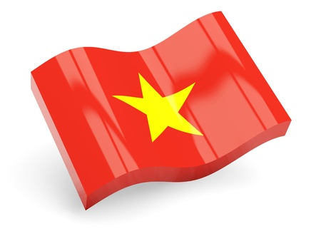 3d flag of vietnam isolated on white photo