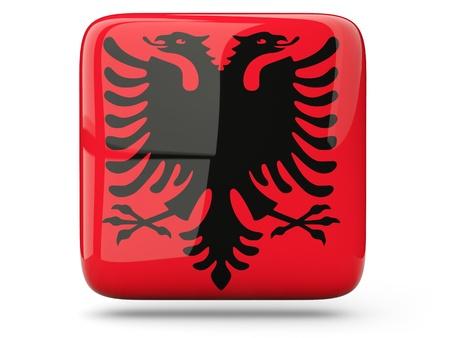 albania: Glossy square icon of flag of albania