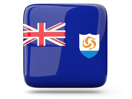 anguilla: Glossy square icon of flag of anguilla