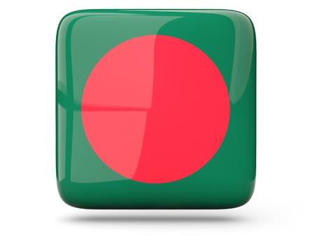 bangladesh 3d: Glossy square icon of flag of bangladesh