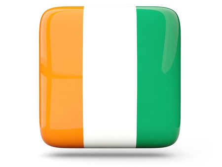 cote d ivoire: Glossy square icon of flag of cote d Ivoire