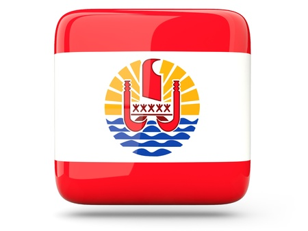 Glossy square icon of flag of french polynesia photo