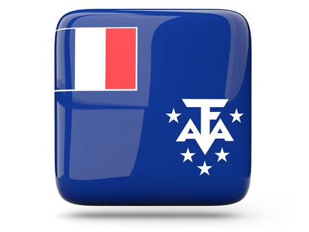 territories: Glossy square icon of flag of french southern territories Stock Photo