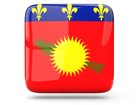 guadeloupe: Glossy square icon of flag of guadeloupe