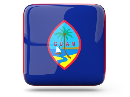 guam: Glossy square icon of flag of guam Stock Photo