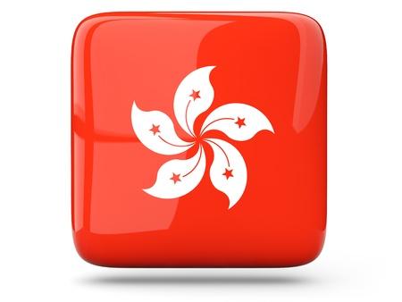 Glossy square icon of flag of hong kong photo