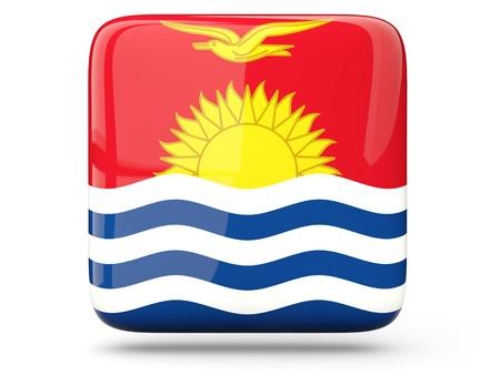 kiribati: Glossy square icon of flag of kiribati Stock Photo