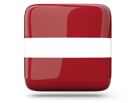 Glossy square icon of flag of latvia photo