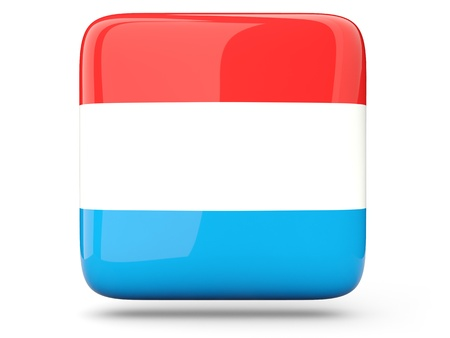 Glossy square icon of flag of luxembourg photo