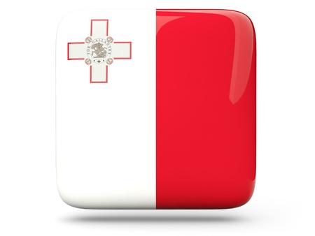 malta: Glossy square icon of flag of malta