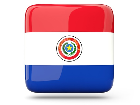 Glossy square icon of flag of paraguay photo
