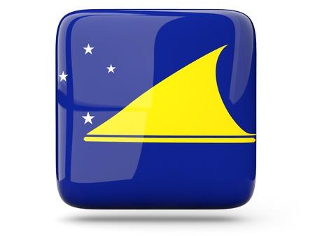 tokelau: Glossy square icon of flag of tokelau