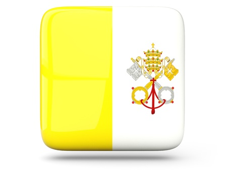 Glossy square icon of flag of vatican city photo