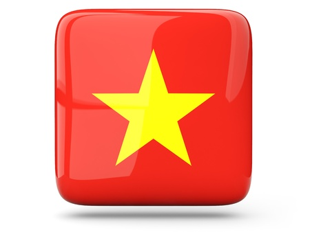Glossy square icon of flag of vietnam photo