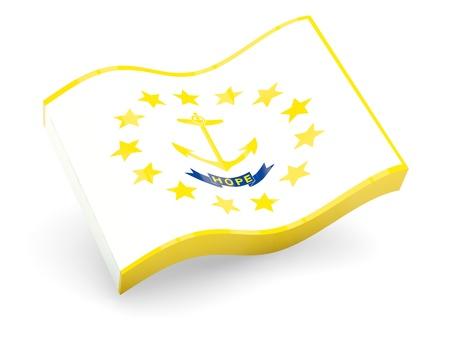 Wavy icon of flag of rhode island photo