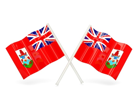 bermuda: Two wavy flags of bermuda isolated on white