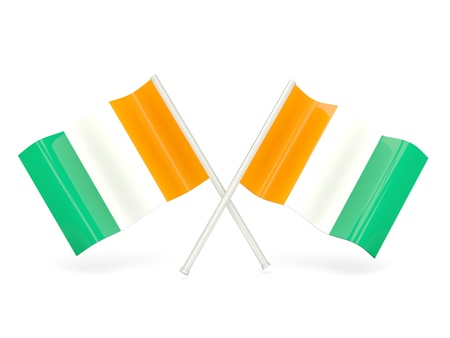 cote d'ivoire: Two wavy flags of cote d Ivoire isolated on white