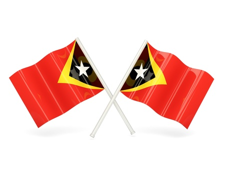 timor: Two wavy flags of east timor isolated on white