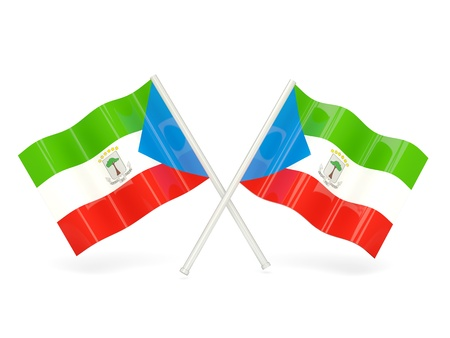 equatorial guinea: Two wavy flags of equatorial guinea isolated on white Stock Photo