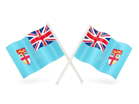 fiji: Two wavy flags of fiji isolated on white