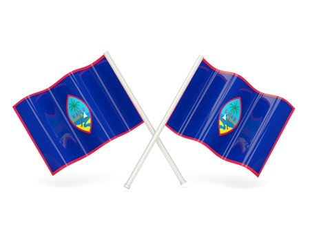 guam: Two wavy flags of guam isolated on white