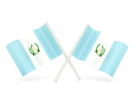 Two wavy flags of guatemala isolated on white photo