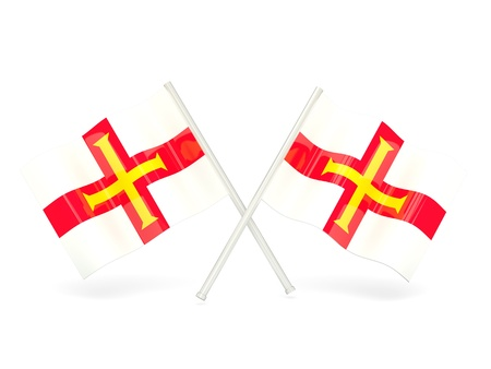 guernsey: Two wavy flags of guernsey isolated on white