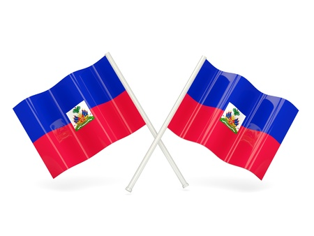 Two wavy flags of haiti isolated on white photo