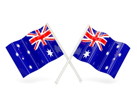 heard: Two wavy flags of heard island and mcdonald islands isolated on white