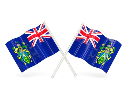 pitcairn: Two wavy flags of pitcairn islands isolated on white
